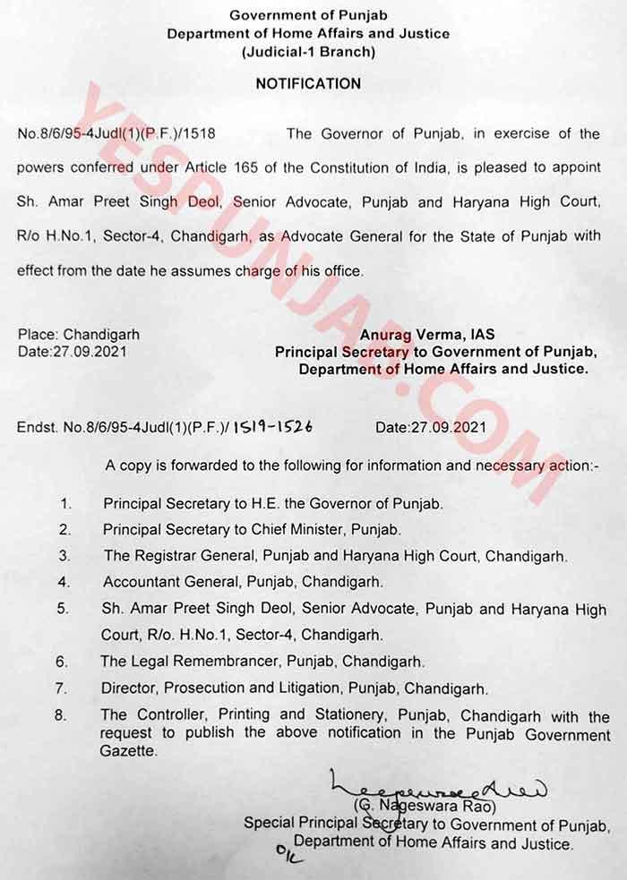 Amar Preet Singh Deol Adv Gen Appont Order
