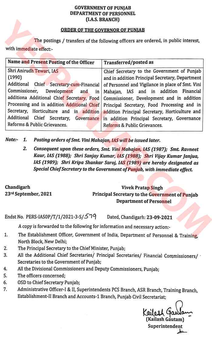 Anirudh Tiwari Chief Secretary Order