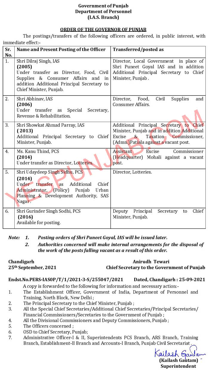 IAS PCS officers transferred 250921