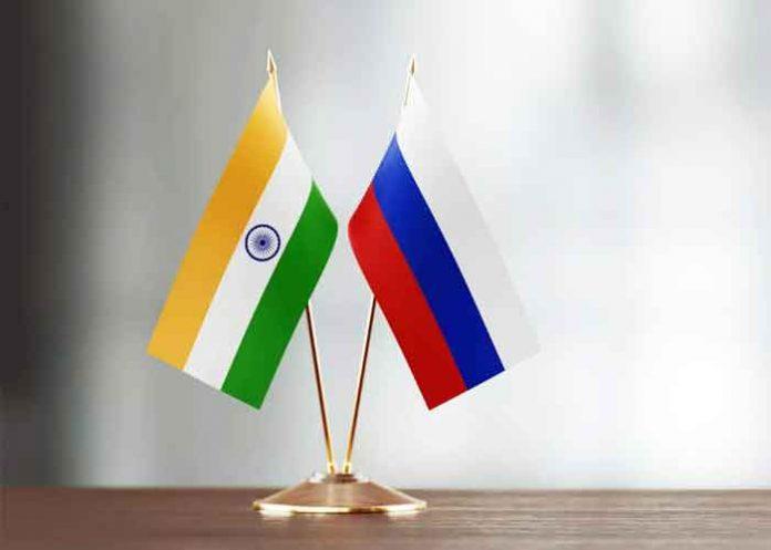 India Russia Table Flag