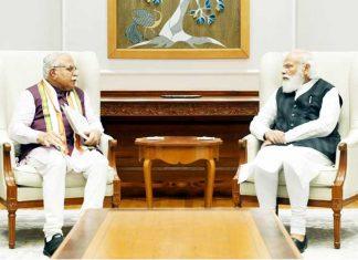 Manohar Lal Khattar meet Modi