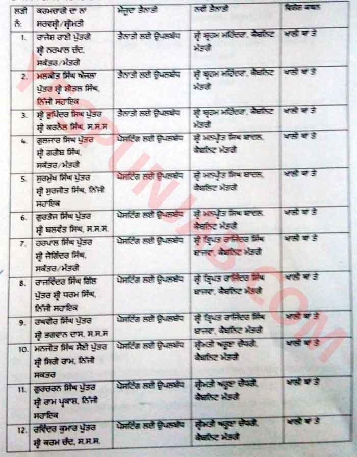 Punjab Cabinet Minister personal staff List 1
