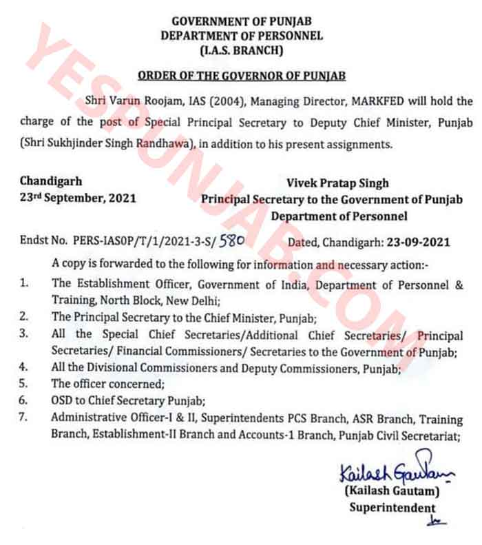 Varun Roojam Sp Sec to Sukhjinder