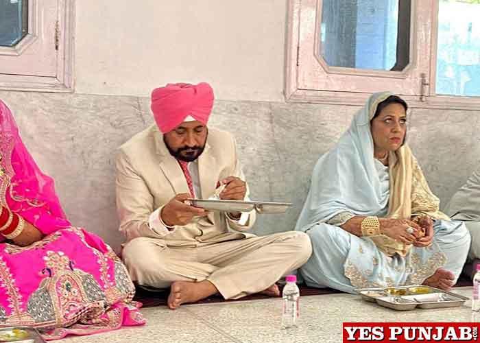 Charanjit Channi eating langar at Son Wedding
