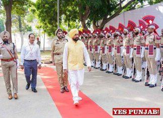 Charanjit Channi taking guard of honour