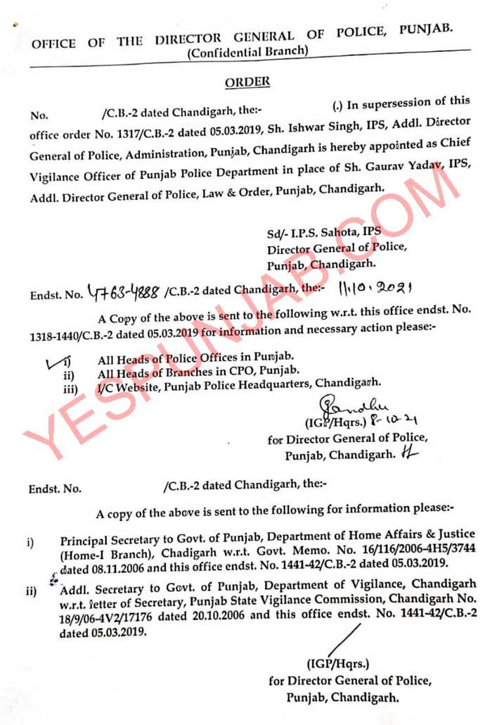 IPS Ishwar Singh appointed letter
