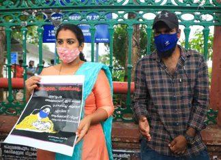 Kerala couple protest before Secretariat
