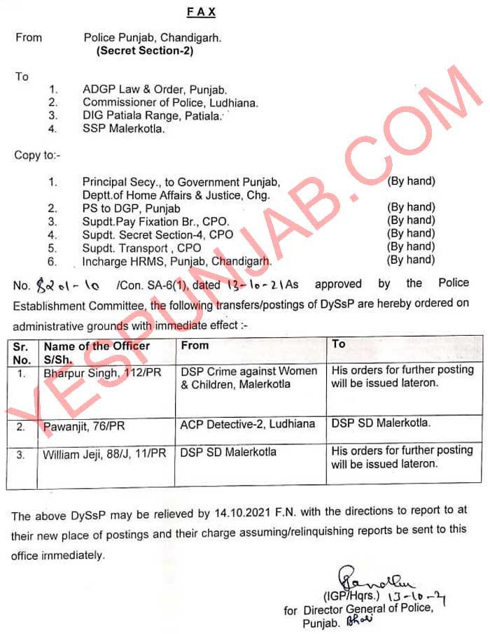 Punjab Police DSP Transfers 131021