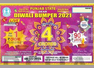 Punjab State Diwali Bumper Lottery 2021